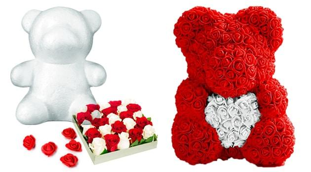Состав мишки из роз