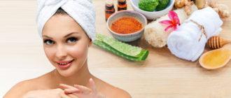 Девушка с полотенцем на голове и разные ингредиенты